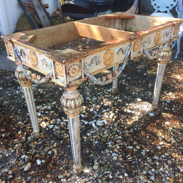 Wood 19th Century Italian Marble Top Console Table For Sale - Image 7 of 12