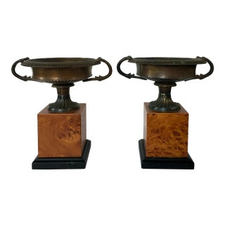 Vintage Neoclassical Style Metal Urns on Faux Burl Wood Plinth Bases - a Pair For Sale