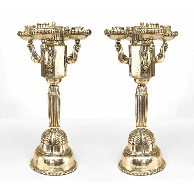 Pair of Austrian Art Deco Silver Plate Candelabra For Sale In New York - Image 6 of 6