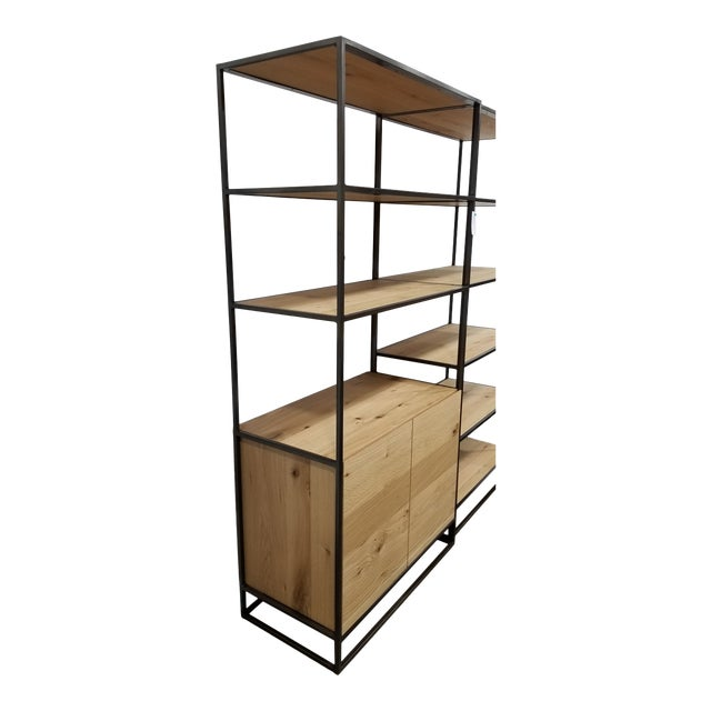 Industrial West Elm Bookcase With Doors For Sale