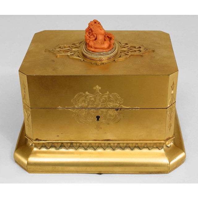 Louis XV 19th C. French Louis XV Style Bronze Dore Box With Coral Cameo For Sale - Image 3 of 5