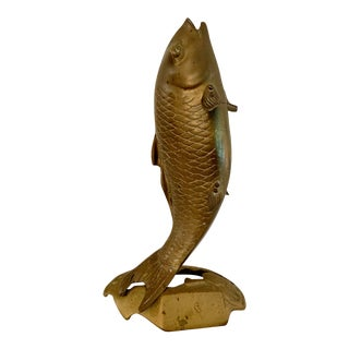 Vintage Brass Fish Figurine For Sale