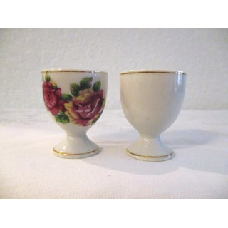 Mid-Century Burgundy Cottage Roses Egg Cups - Set of 6 Preview