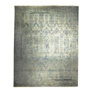 "Custom Made Indian Handknotted Wool and Silk Rug - 8'2""x 10'4"" For Sale"