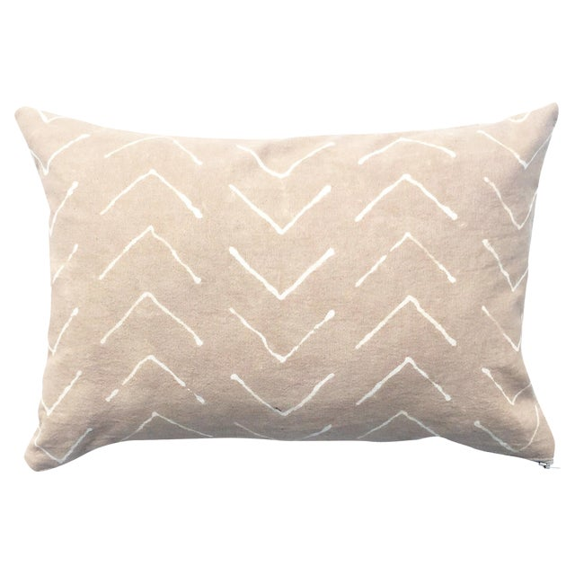 Hand-Dyed Beige Tribal Pillow Cover - Image 1 of 5
