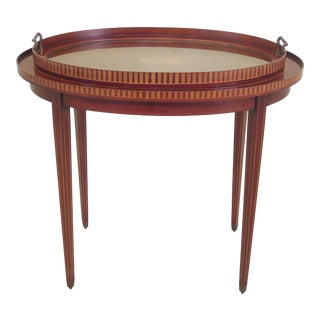 Traditional Inlaid Mahogany Tray Top Serving Table For Sale