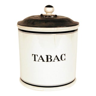 Vintage Digoin & Sarreguemines 19th Century 'Tabac' Porcelain Tobacco Barrel For Sale