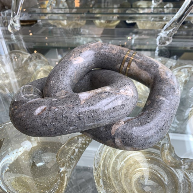 Grey Marble Link Decortive Sculpture Object For Sale In Los Angeles - Image 6 of 9