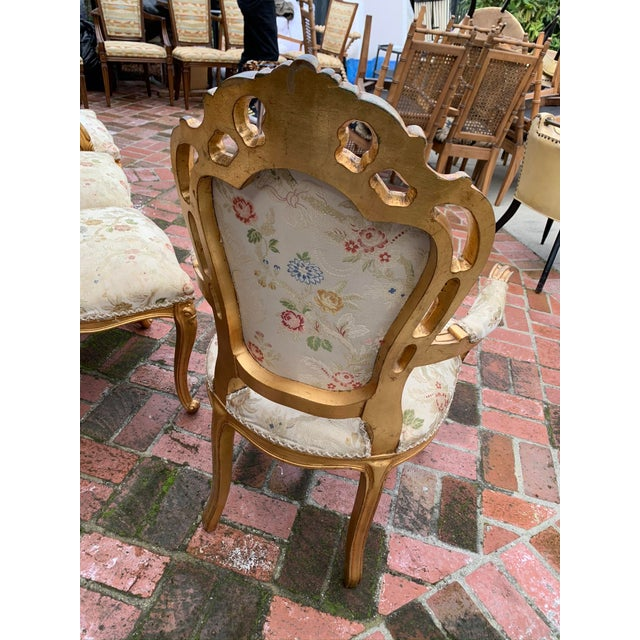 Wood Antique Gold Leaf Painted Louis XIV Style Chairs - Set of 8 For Sale - Image 7 of 12