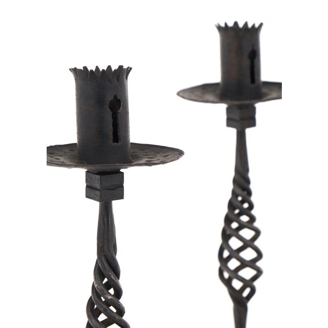 Vintage Forged Iron Candlesticks - A Pair For Sale In Austin - Image 6 of 10