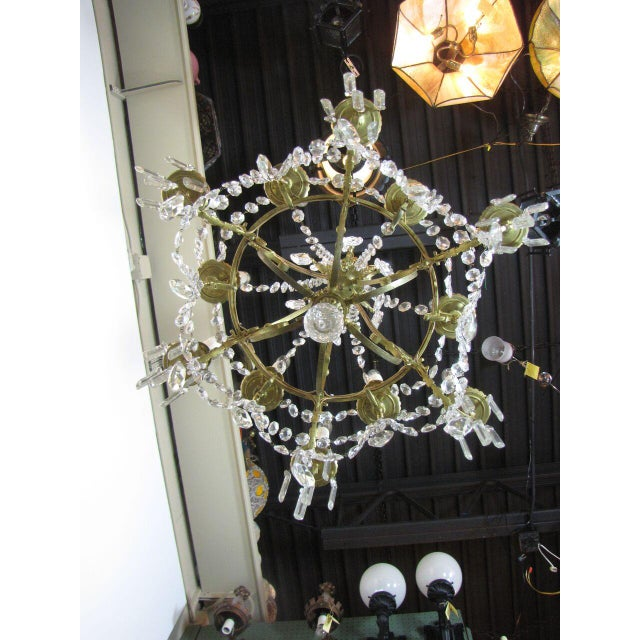 French French Bronze and Crystal Chandelier For Sale - Image 3 of 9
