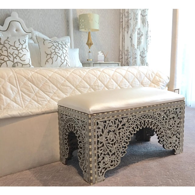 Beautiful one of kind Syrian mother of pearl inlay bench with leather upholstery. The bench inlaid with natural mother of...