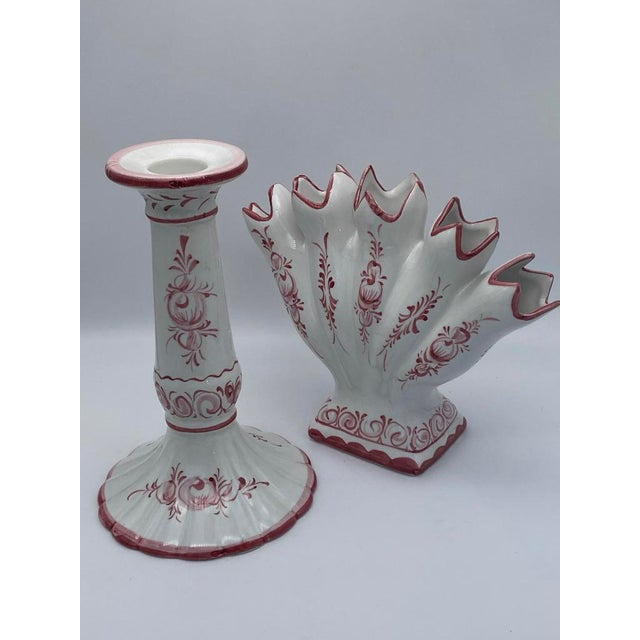 French Faience Tulipiere Fan Bud Vase and Candle Holder From Portugal For Sale - Image 3 of 11
