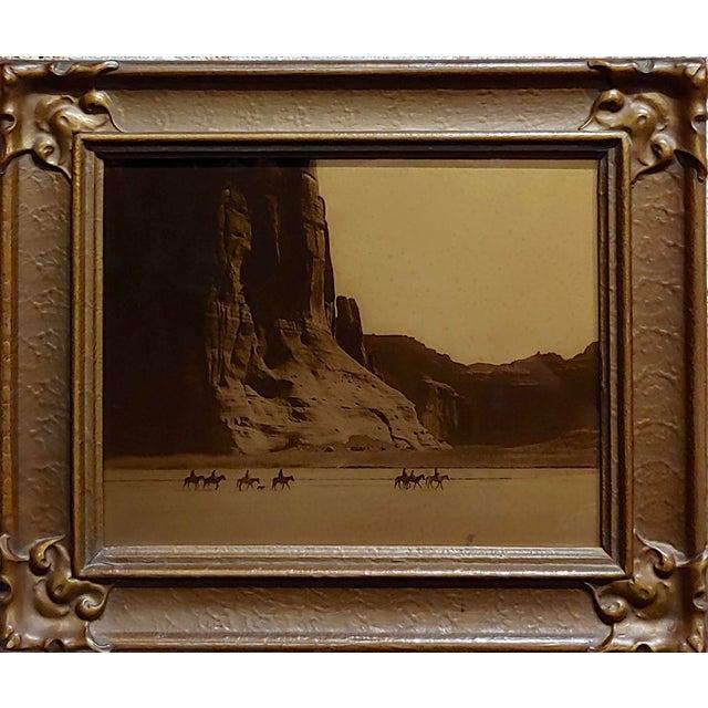 "Edward Curtis -Navajo Canyon De Chelly -1904 Original Orotone-Rare original Art Nouveau Frame size : 11.5"" H x 13.5"" W x..."