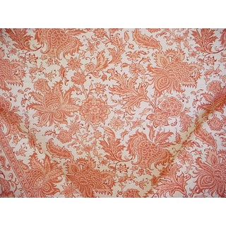 Turkish Lee Jofa Bodrum Print Coral Pink Floral Damask Upholstery Fabric - 13-1/4y For Sale