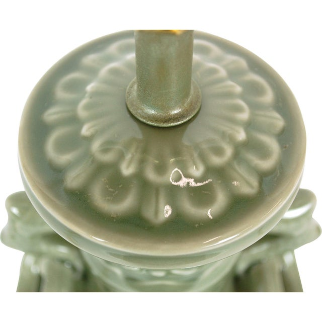 Dolphin Handled Urn Lamp in Celadon - Image 5 of 7