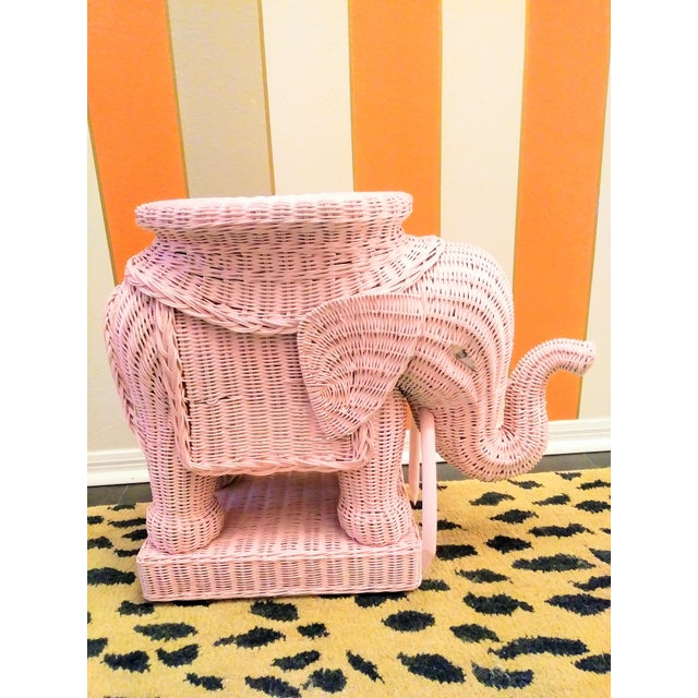 Palm Beach Regency Pale Pink Wicker Elephant Side Table or Plant Stand For Sale - Image 4 of 5