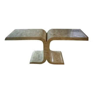 1980s Art Deco Maitland-Smith Ltd Tessellated Fossil Stone Console Table For Sale