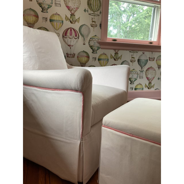 English Custom Pink & White Stripe Chair & Ottoman For Sale - Image 3 of 7