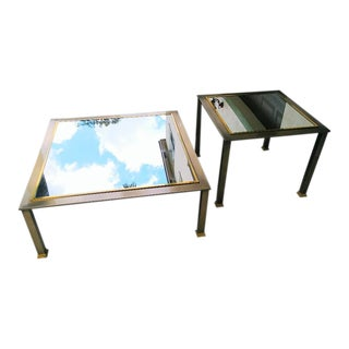 Dia Design Institute of America Mid-Century Modern Brass/ Mirror Large Coffee Table & End Table a Pair For Sale
