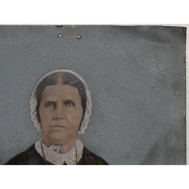 19th Century Portrait of a Woman on Tin For Sale - Image 4 of 7