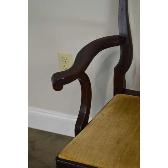 Mahogany Henkel Harris Queen Anne Style Mahogany Pair of Arm Chairs #110a For Sale - Image 7 of 12
