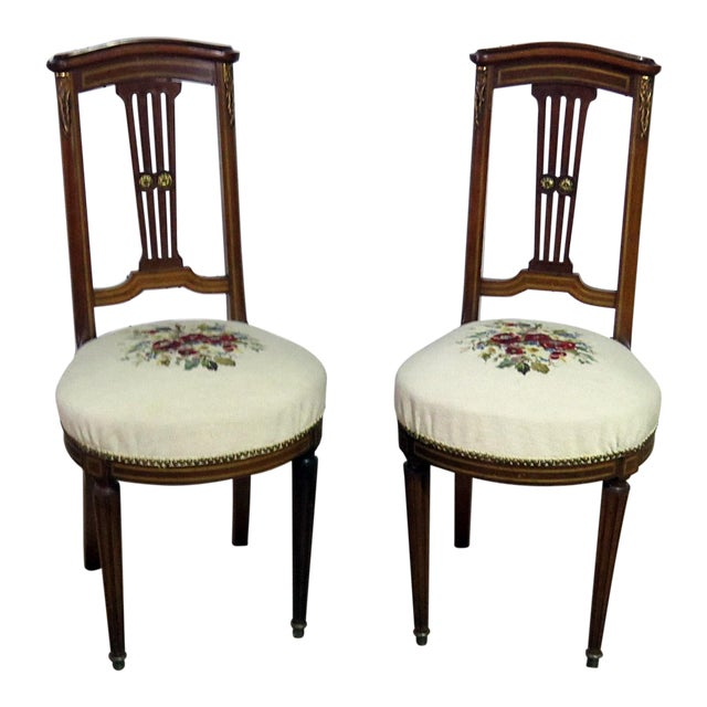 Pair of Directoire Style Slipper Chairs For Sale