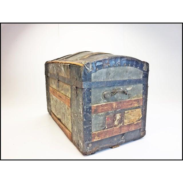 Animal Skin Vintage Rustic Wood Camelback Steamer Trunk For Sale - Image 7 of 13