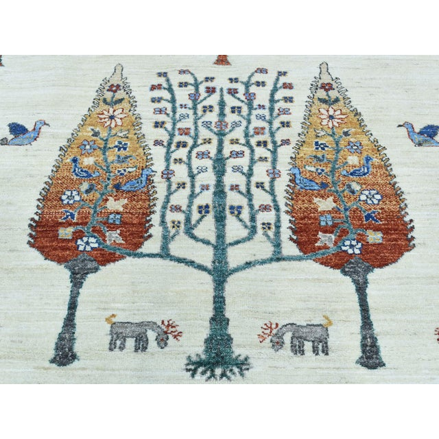 Textile Hand-Knotted Wool Tree Design Peshawar Rug- 12′3″ × 15′6″ For Sale - Image 7 of 13