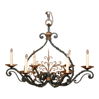 Early 20th Century French Six-Light Verdigris and Gilt Accent Iron Chandelier For Sale