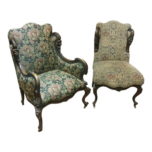 19th Century Victorian Tapestry Chairs - A Pair For Sale