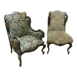19th Century Victorian Tapestry Chairs - Set of 2 For Sale