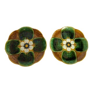 French Art-Nouveau Majolica Lily Pad Plates, A-Pair For Sale