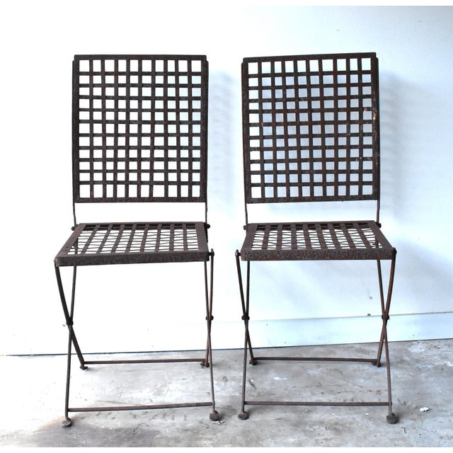 Vintage 1940s Wrought Iron Folding Garden Chairs - a Pair For Sale - Image 4 of 11