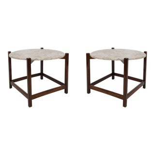 Celina Moveis Marble and Jacaranda Side Tables - a Pair For Sale