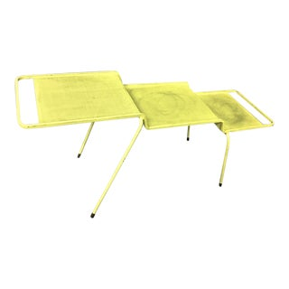 Mathieu Mategot Coffee Table in Yellow Painted Iron and Rigitule For Sale