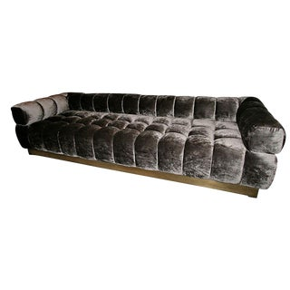 "Adesso Imports Tufted Charcoal Brown ""Oscar"" Sofa With Brass Base For Sale"