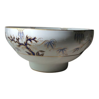 Antique Cobalt & Gold Bone China Punch Bowl For Sale