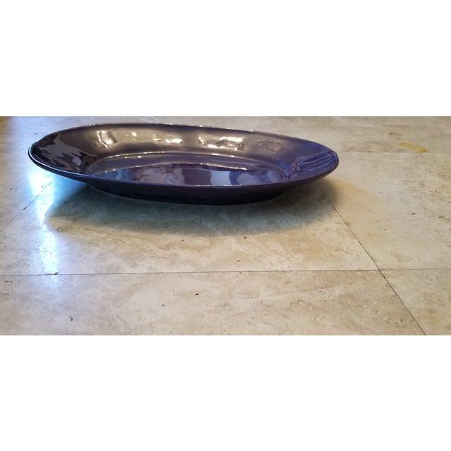 Italian Aubergine Artisan Made Ceramic Platter For Sale - Image 4 of 9