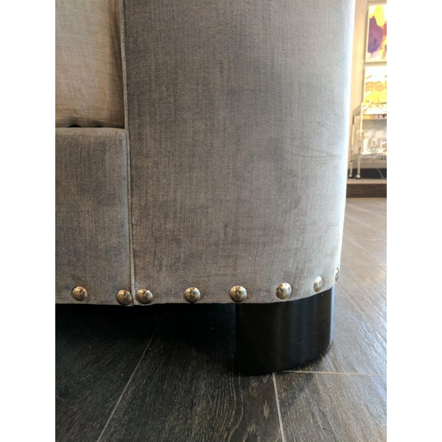 Queen-Size Grey Velvet Bed Frame For Sale In Seattle - Image 6 of 7