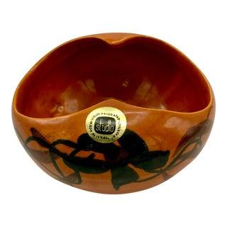 Vintage Mid-Century Kernat Studio Israeli Ceramic Floral Bowl