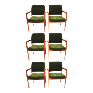 Scandiline Vintage Green Velvet Chairs - Set of 6 For Sale
