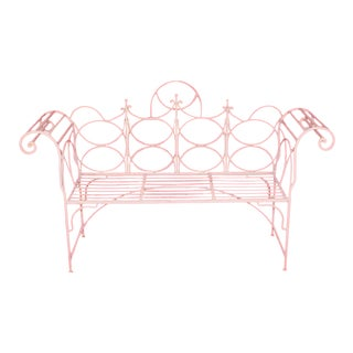 Vintage Wrought Iron Gothic Priory Style Garden Bench Scroll Sofa White Sunroom For Sale