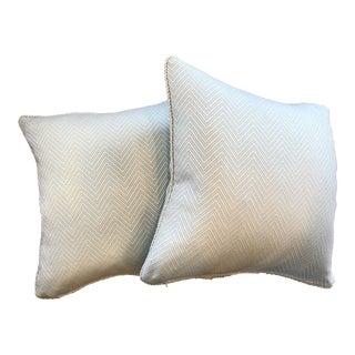 Thibault Heaven Herringbone Aquamarine and White Pillows - A Pair For Sale