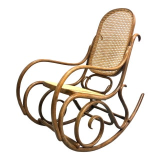 Signed Thonet Model 1 Bentwood & Cane Rocking Chair For Sale