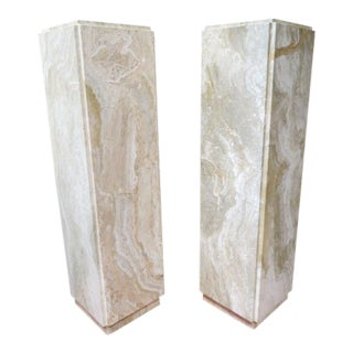 Vintage Mid Century Modern Pair of Travertine Marble Pedestals- A Pair For Sale