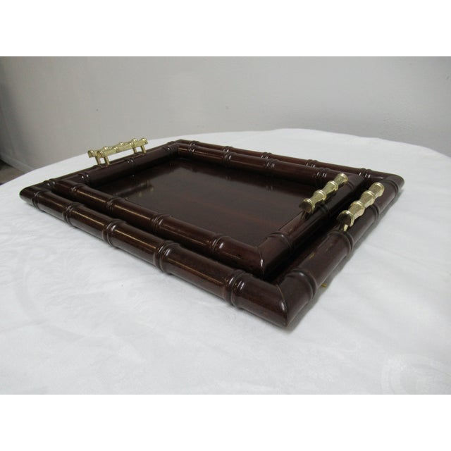 Traditional 1990s Vintage Bombay Company Faux Bamboo Stacking Trays - A Pair For Sale - Image 3 of 12