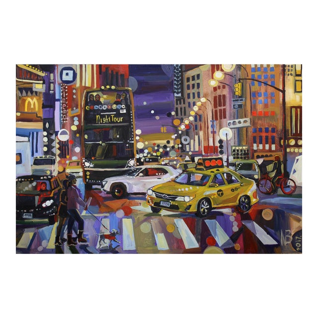 """Large """"Nyc Lights"""" Acrylic Oil Painting by Natalia Bessonova For Sale"""