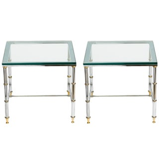 Pair of Chrome and Brass Accent Tables For Sale