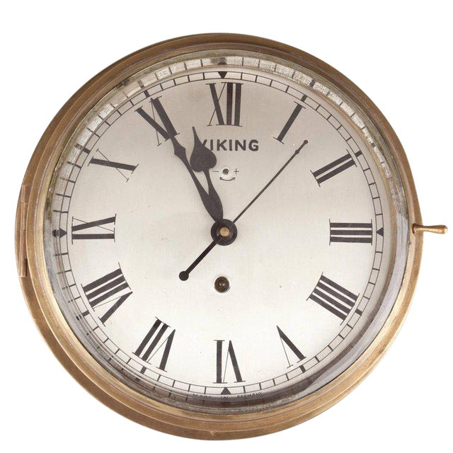 Brass Ship's Clock by Viking, Circa 1960s For Sale